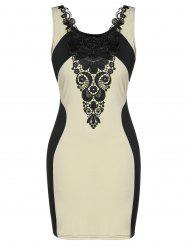 Plus Size Lace Panel Two Tone Bodycon Dress -