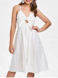 Smocked Tie Front Buttoned Dress -