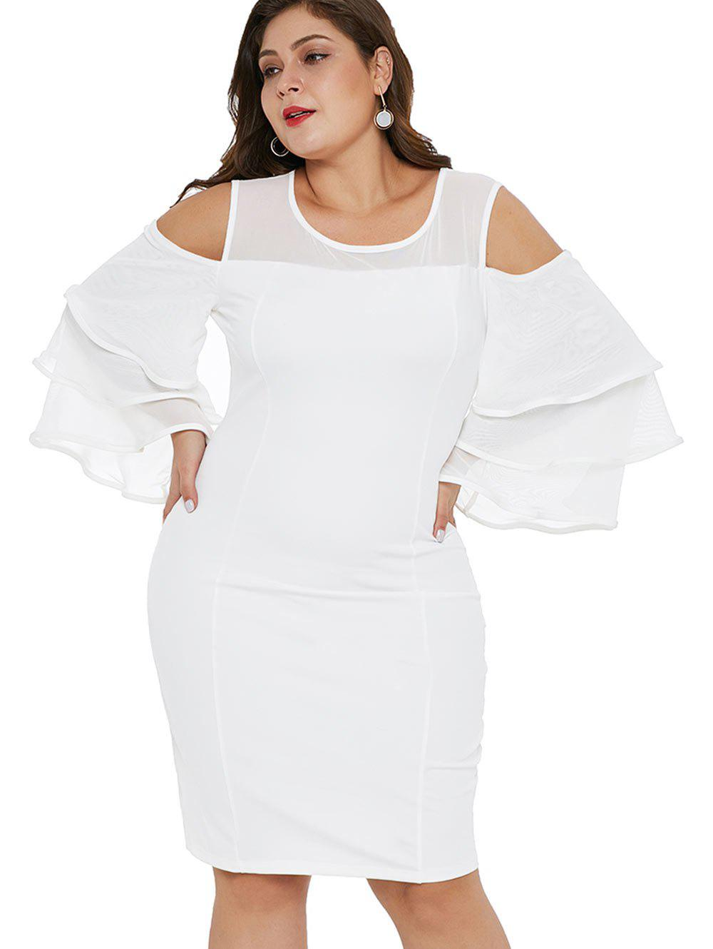 Online Mesh Panel Plus Size Layered Sleeve Bodycon Dress