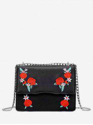 Embroidery Flower Pattern Chain Crossbody Bag -