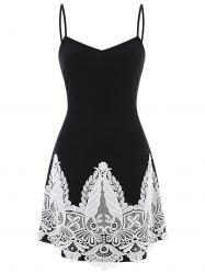 Plus Size Lace Panel A Line Slip Dress -