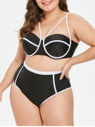 High Waist Plus Size  Underwire Bikini Set -