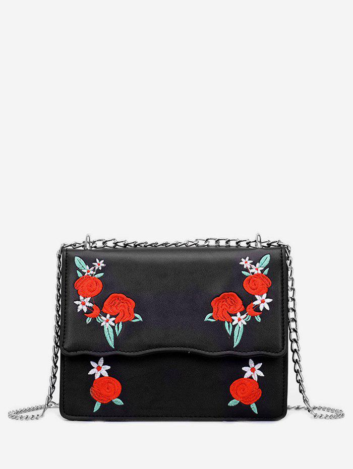Outfit Embroidery Flower Pattern Chain Crossbody Bag