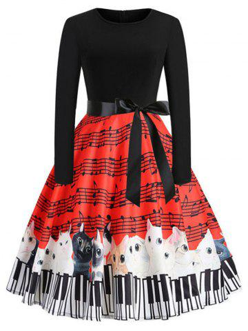 Music and Cat Print Long Sleeve Flare Dress