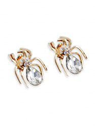 Spider Stud Earrings with Faux Crystal -