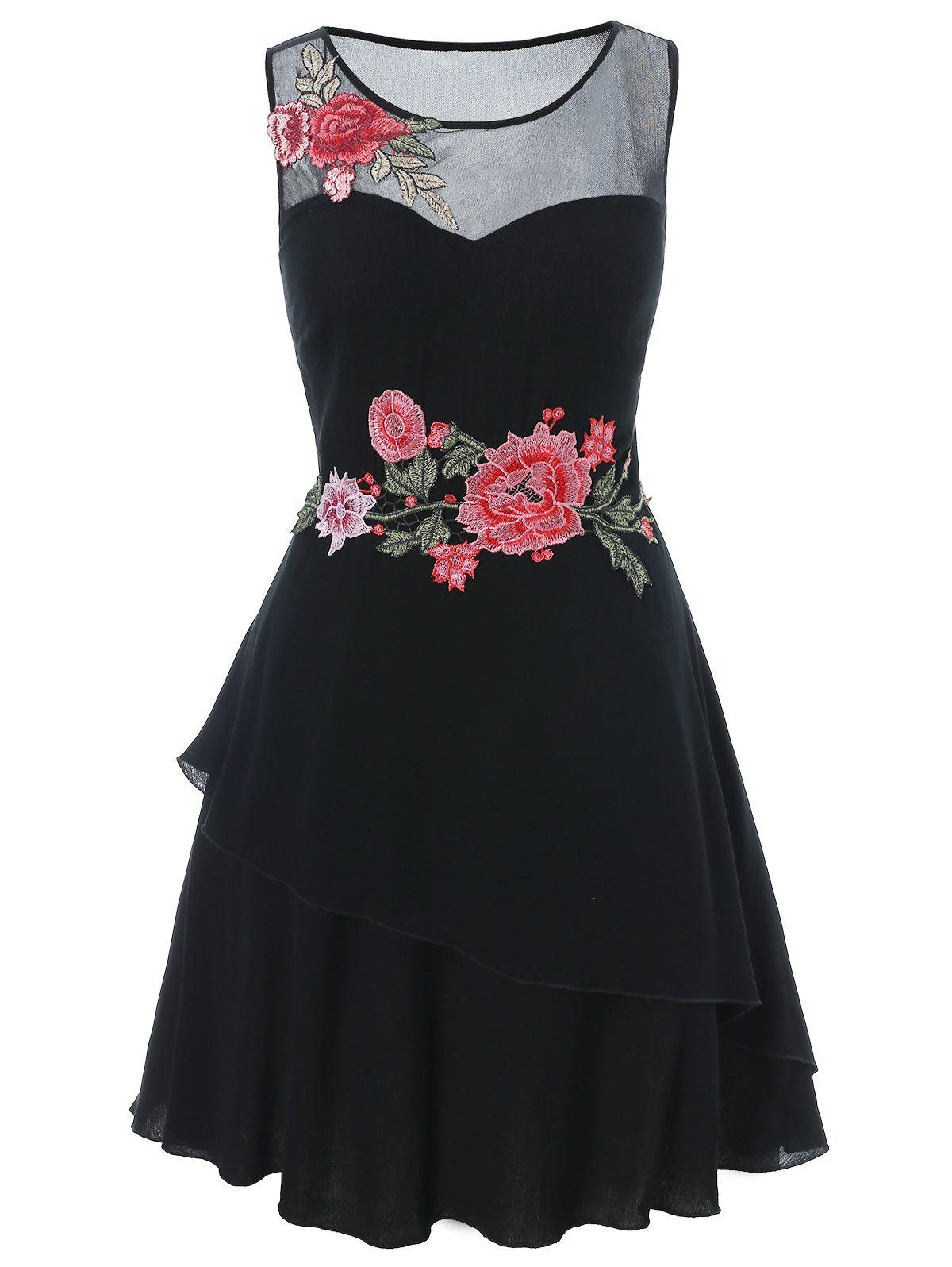Plus Size Embroidered Sheer Dress