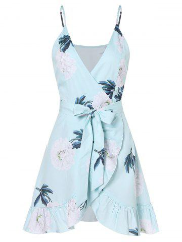 Flower Self Tie Wrap Dress
