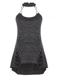 Chains Ripped Plus Size Halter Tank Top -