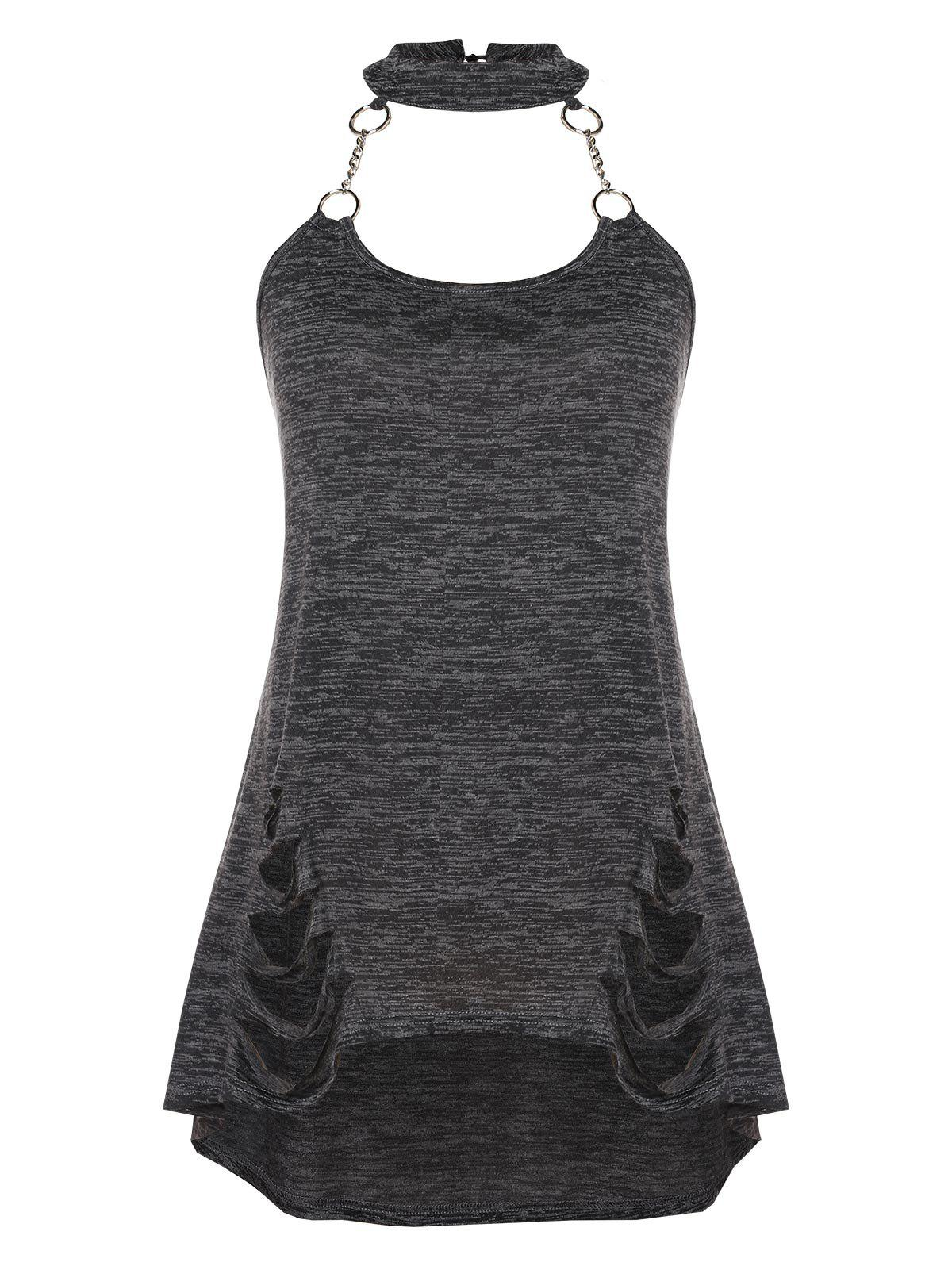 Latest Chains Ripped Plus Size Halter Tank Top