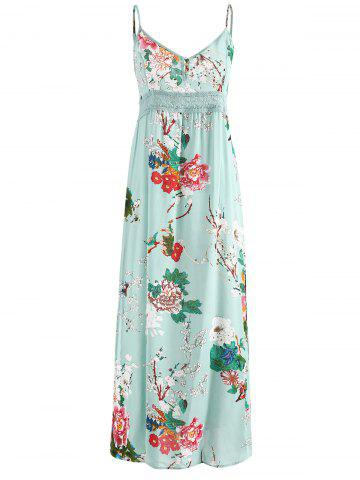Floral Print Crochet Insert Maxi Dress