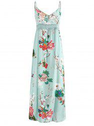 Floral Print Crochet Insert Maxi Dress -