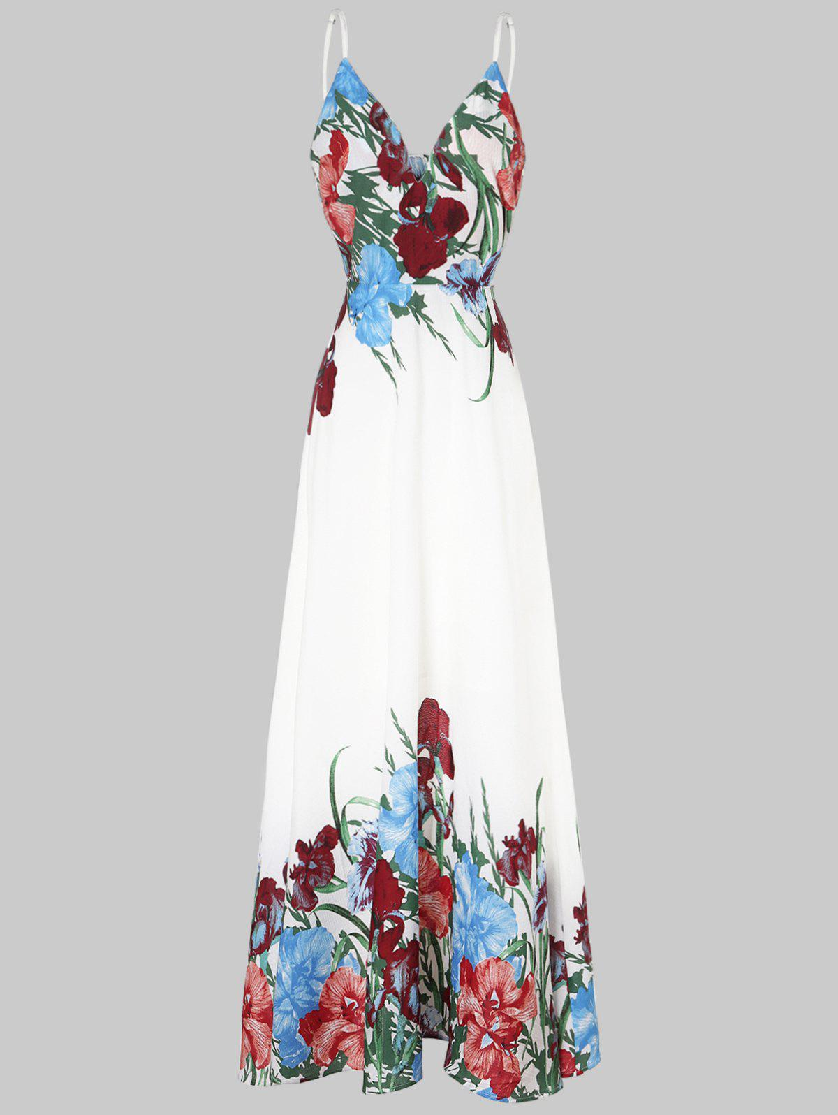 Trendy Plunge Neck Floral Maxi Dress