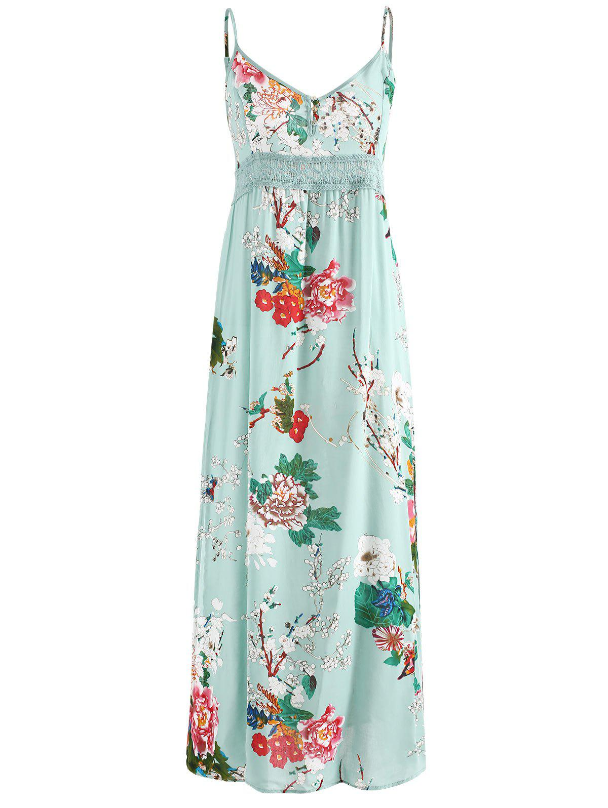 Latest Floral Print Crochet Insert Maxi Dress