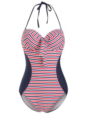 Striped Underwire Halter Knot Swimsuit