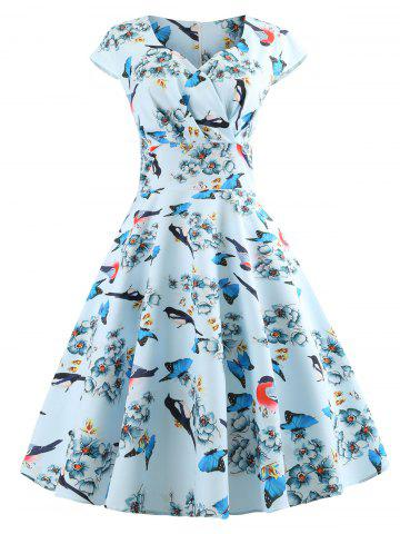 Bird Print High Waist Flare Dress