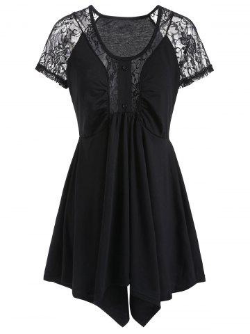 Scoop Neck Lace Panel Asymmetric Tee