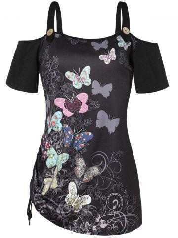 Plus Size Cold Shoulder Short Sleeves Butterfly Print Strap Drawstring Tee