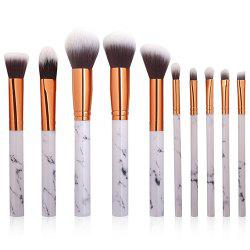 Marble Design Handle Makeup Brushes Set / 10pcs -