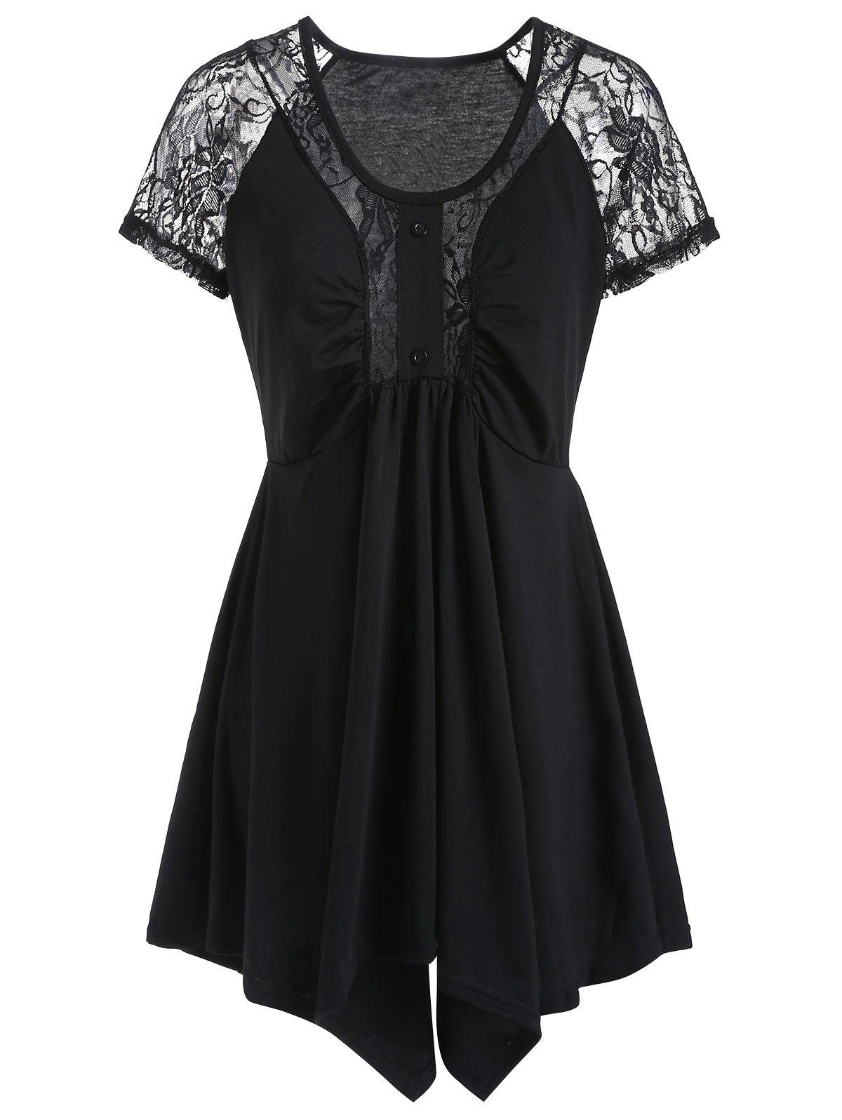 Affordable Scoop Neck Lace Panel Asymmetric Tee