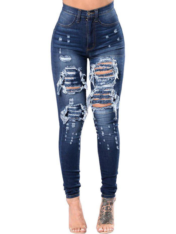 High Rise Skinny Ripped Destroyed Jeans