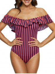Ruffles Two Tone Striped Swimsuit -