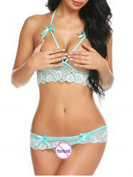 Bowknot Cut Out Sexy Lace Bra Set -