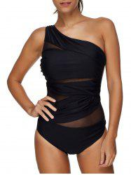 Sheer Mesh Panel One Shoulder Swimsuit -