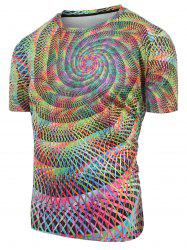 Round Neck Colorful Swirl Print Casual T-shirt -