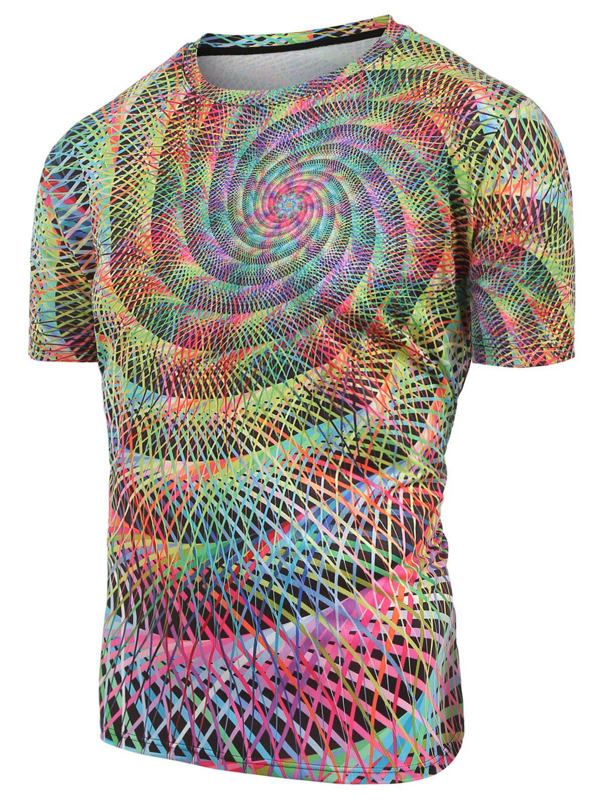 Sale Round Neck Colorful Swirl Print Casual T-shirt