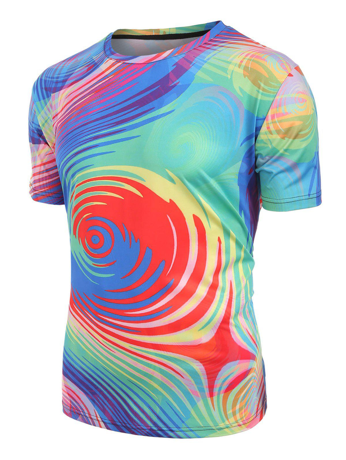 Best Short Sleeves Colorful Swirl Print Casual T-shirt