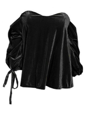 Off The Shoulder Drawstring Velvet Top