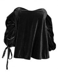 Off The Shoulder Drawstring Velvet Top -