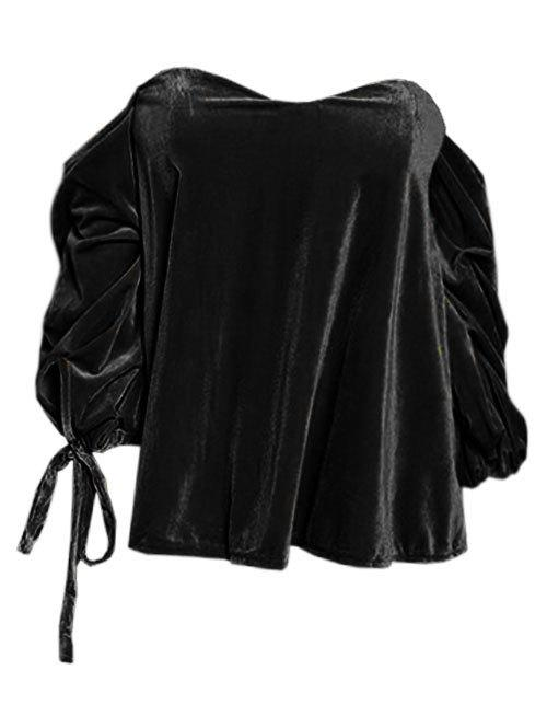 Cheap Off The Shoulder Drawstring Velvet Top