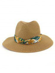 Print Leaf Decor Straw Sun Hat -