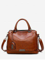 Retro Rivets Oil Wax Leather Shoulder Bag -