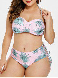 Plus Size Halter Neck Leaf Print Bikini Set -