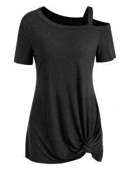 Knotted Skew Neck Short Sleeve Tee -