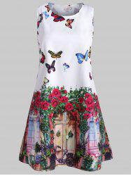 Butterfly Print Swing Sleeveless Dress -