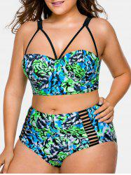 Cut Out Plus Size Printed Bikini Set -