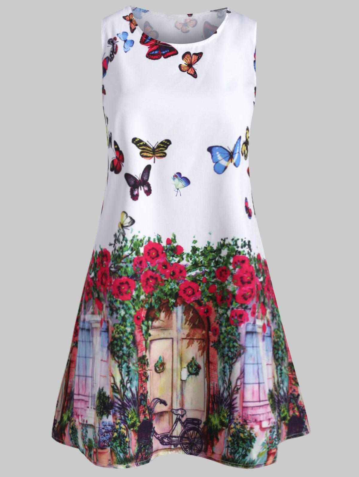 Store Butterfly Print Swing Sleeveless Dress