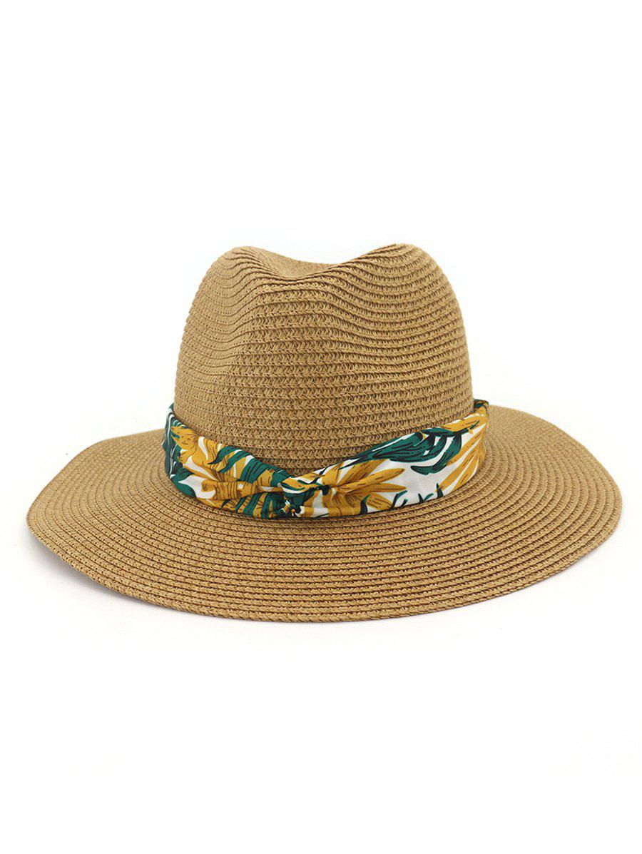 Affordable Print Leaf Decor Straw Sun Hat
