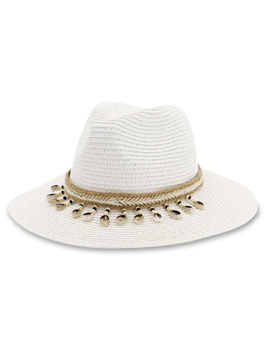 Affordable Conch Beads Decor Beach Straw Hat
