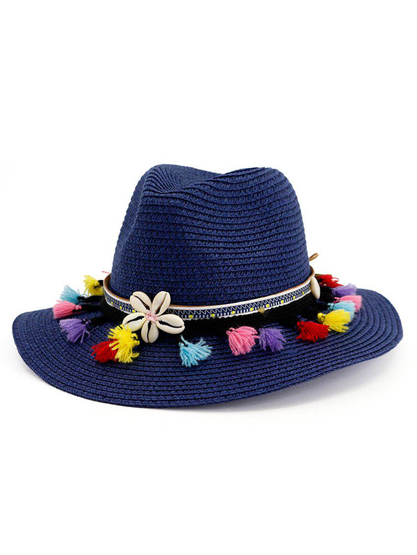 Trendy Tassel Flower Beach Straw Sun Hat