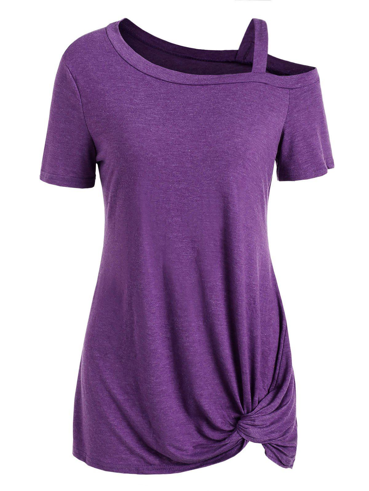 Hot Knotted Skew Neck Short Sleeve Tee