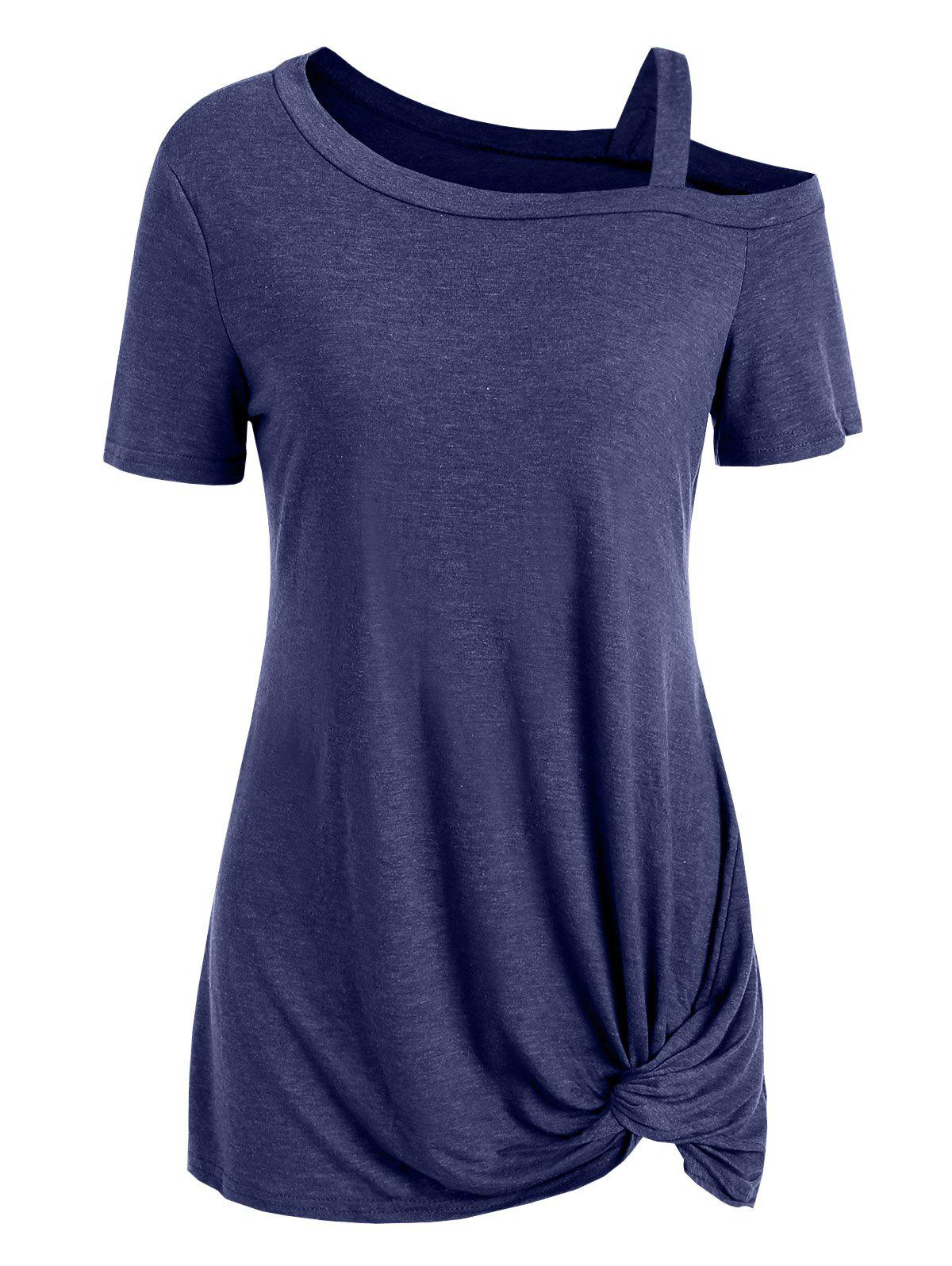 Outfits Knotted Skew Neck Short Sleeve Tee