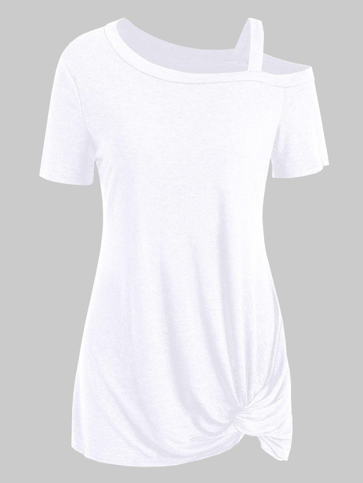 Online Knotted Skew Neck Short Sleeve Tee