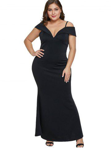Plunging Neck Plus Size Mermaid Dress