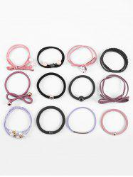 12Pcs Bowknot Pattern Pearl Elastic Hair Band -