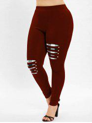 Ripped Plus Size Plaid Panel Leggings -