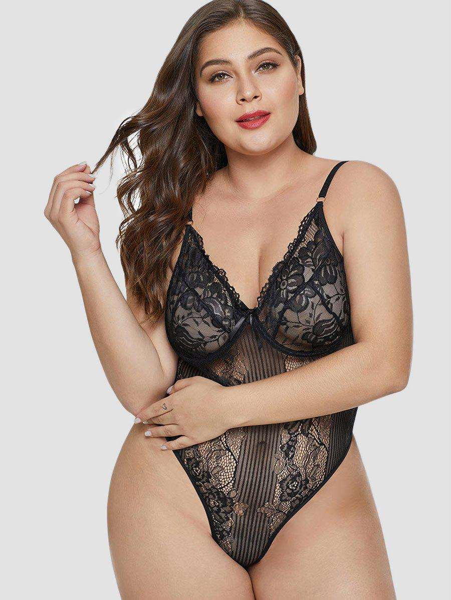 Best See Through Plus Size Lace Teddy